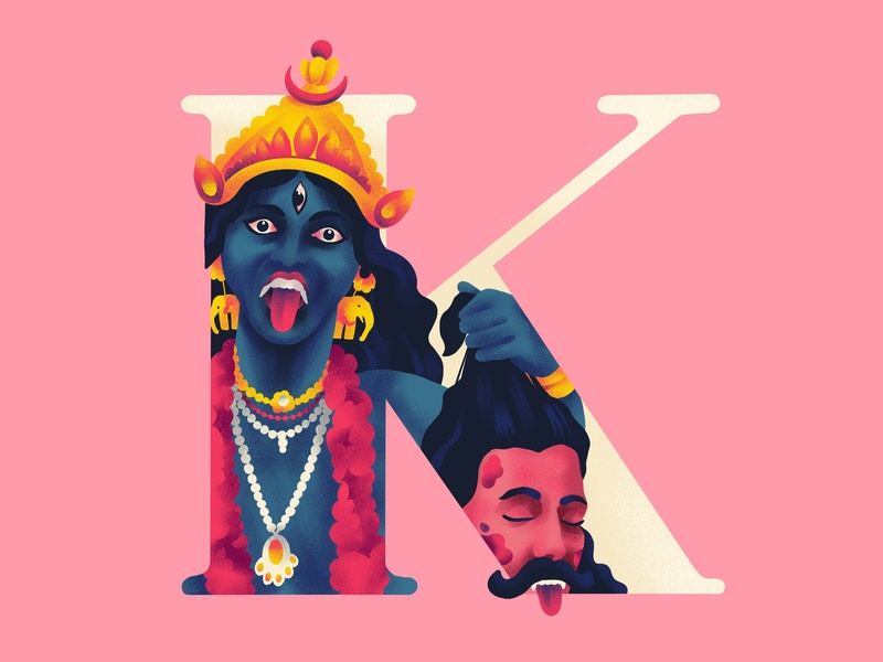 K A L I 36daysoftype k indian art myth kali illustration