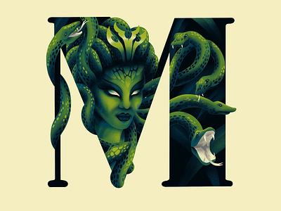 M E D U S A art typography snake medusa m 36dayoftype