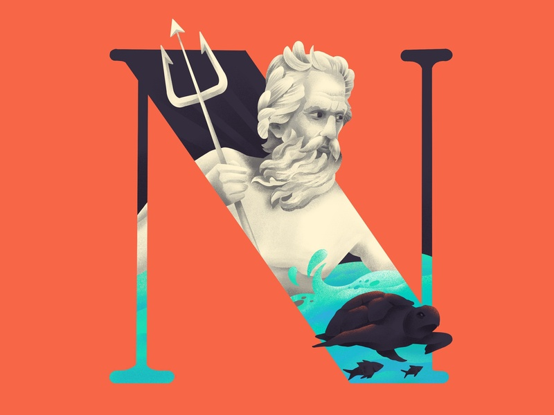 N E P T U N E mythical typography n 36daysoftype neptune illustration