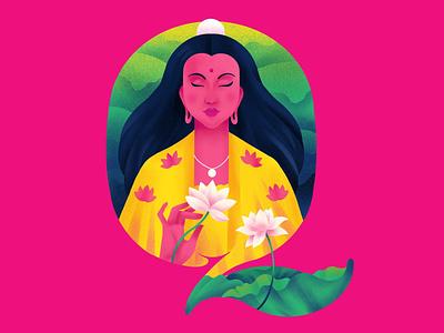 Q U A N   Y I N goddess lotus q 36daysoftype typography illustration