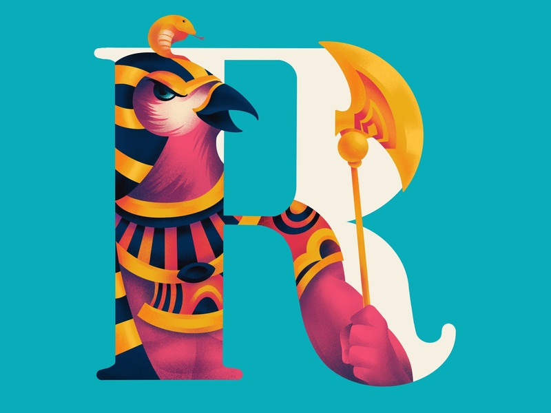 R A typography r 36daysoftype egyptian ra illustration