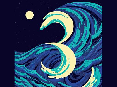 T H R E E typogaphy art design 36daysoftype three illustration