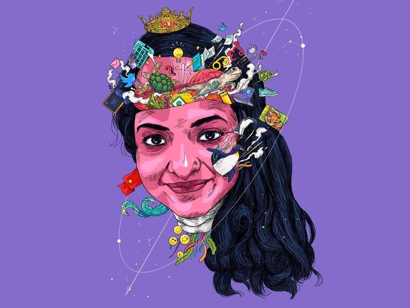 Pun queen 👑 indie pun queen penguin turtle colleague portrait art illustration