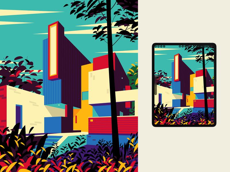 Home 🏠 vector house garden plants architecture art design home illustration