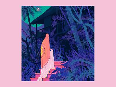 So light is her footfall night moon woman house flower garden architecture plants home art design illustration
