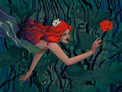 Greediness flower sea mermaid plants art design illustration