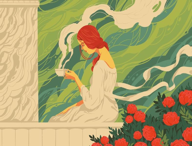 Abide tea nature flower design art balcony woman abide illustration