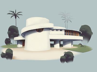Arizona – David & Gladys Wright House (1950) architect franklloyd art design architecture illustration