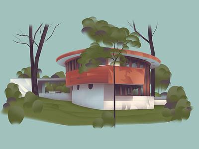 Florida – Lewis Spring House (1954) series architecture home design art illustration