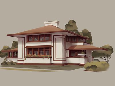 Iowa – Stockman House (1908) franklloydwright series architecture home design art illustration