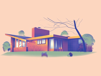 Michigan – Robert and Rae Levin House (1948) house series architecture home design art illustration