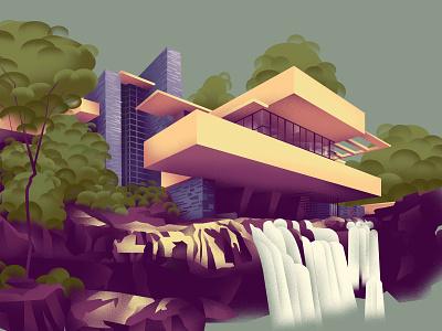 Pennsylvania – Fallingwater (1935) series architecture home art design illustration