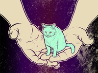 Tiny Space Cat Print 1