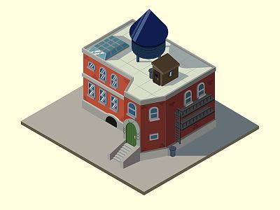 Hey Arnold House  isometric urban city cartoon nickelodeon 2d illustration vector