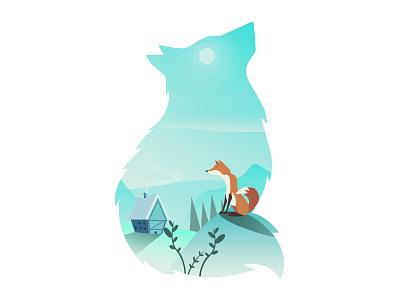 Fox artic fox nature vector snow illustration cold animals 2d
