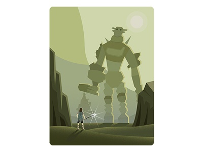 Shadow of the Colossus field david goliath titan colossus environment iconic character game illustration vector