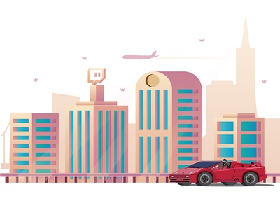Lamborghini Diablo VT gradient world color environment iconic city car illustration vector
