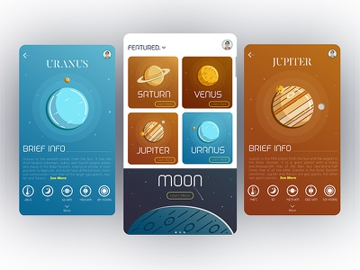 Spacify app space webdesign landing mobile planets universe ux ui illustration interface dashboard app