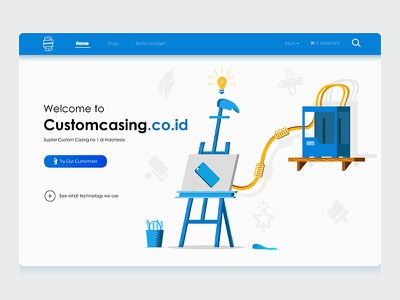 Customcasing front page user interface landing page blue ux ui product marketplace illustration