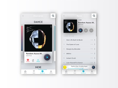 Music App white mobile design product ux ui music interface card app
