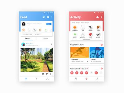 Social Excercise App Design mobile ui card workout app workout fitness dashboad interface ui  ux design android app