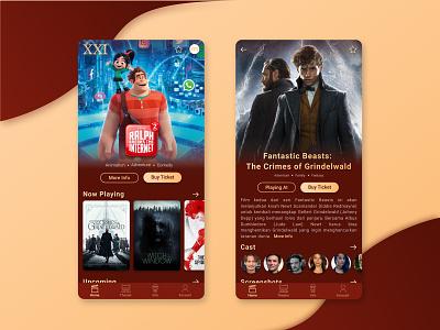 Cinema XXI App Redesign vector icon concept branding product mobile interface design app ui