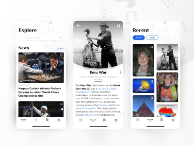 Wikipedia Redesign App Concept 2d ux ui vector branding card typography product mobile interface design app