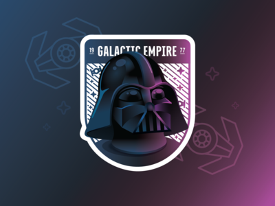 Galactic Empire Holographic Sticker holographic sticker badge sith darth vader star wars gradient stickermule illustration