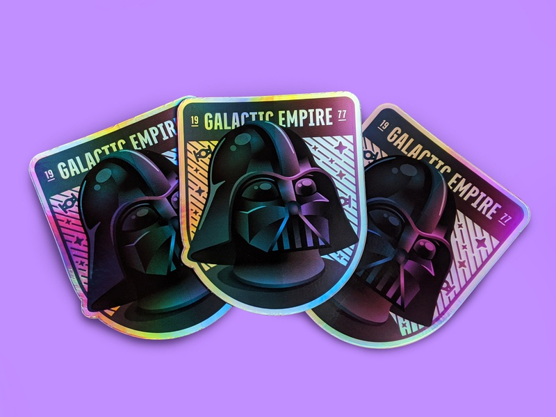 Galactic Empire Holographic Sticker sticker stickermule holographic starwars sith empire darth vader gradient vector badge illustration