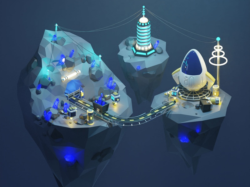 Space Mine low-poly 3d isometric sci-fi 3dart blender3d 3d illustration blender crystal spaceship robots space