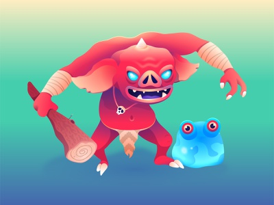 Linktober Day 1: Monster/Beast breath of the wild bokoblin chuchu video game nintendo gradient zelda vector character illustration
