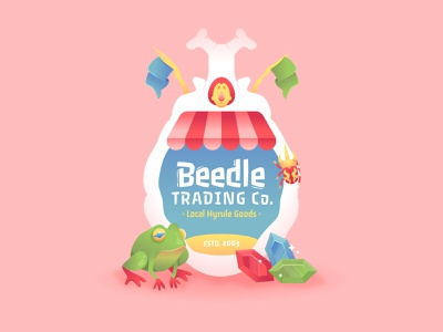 Beedle windwaker nintendo breath of the wild zelda gradient video game badge vector character illustration