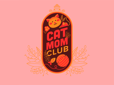 Cat Mom Club cat patch vector badge illustration