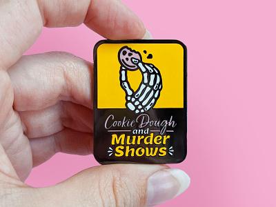 True Crime Enamel Pin murderino cookie skeleton patch pin enamel pin badge illustration