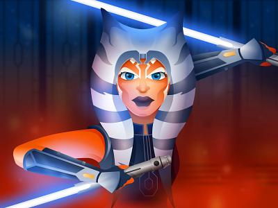 Ahsoka Tano lightsaber jedi star wars vector illustration