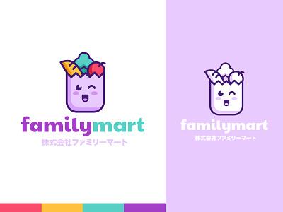 Family Mart Logo cute character pastel branding kawaii logo vector illustration