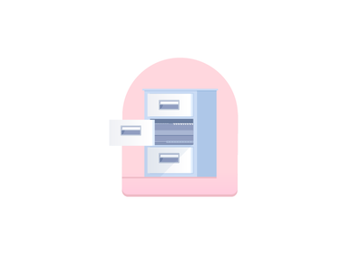 Day 14: Organization files filing cabinet badge illustration