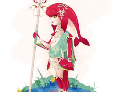 The Zora Champion zelda breath of the wild mipha zora link nintendo fish princess video game illustration trident water
