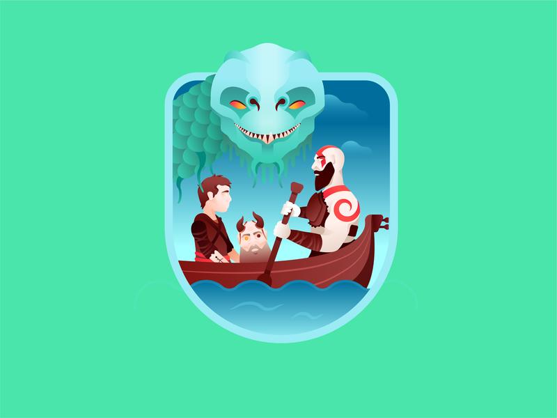 BOY. boat serpent atreus god of war kratos video game gradient vector character badge illustration