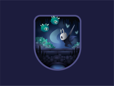 Hollow Knight bug hollow knight video game vector character badge illustration