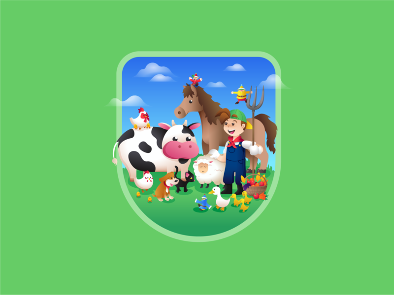 Harvest Moon farm cat dog vegetable fruit duck sheep horse chicken cow harvest moon video game vector character badge illustration