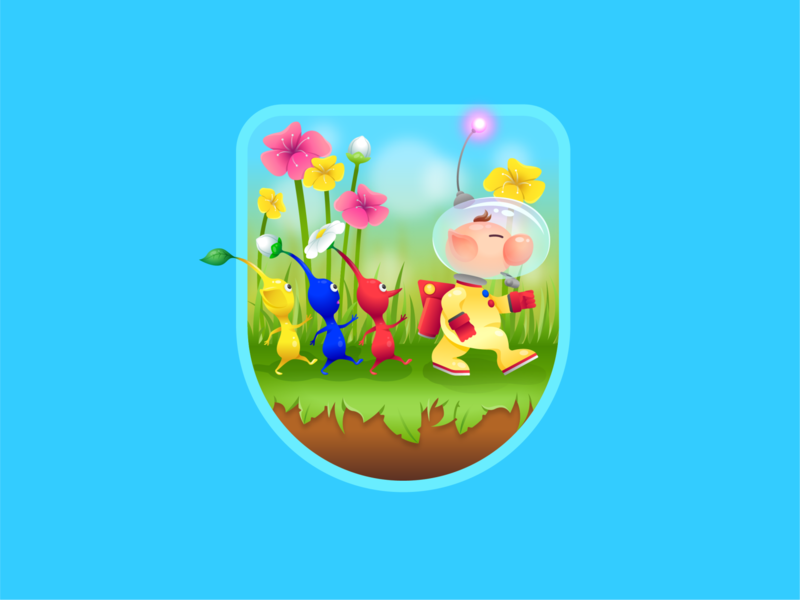 Pikmin vector gradient video game character badge illustration