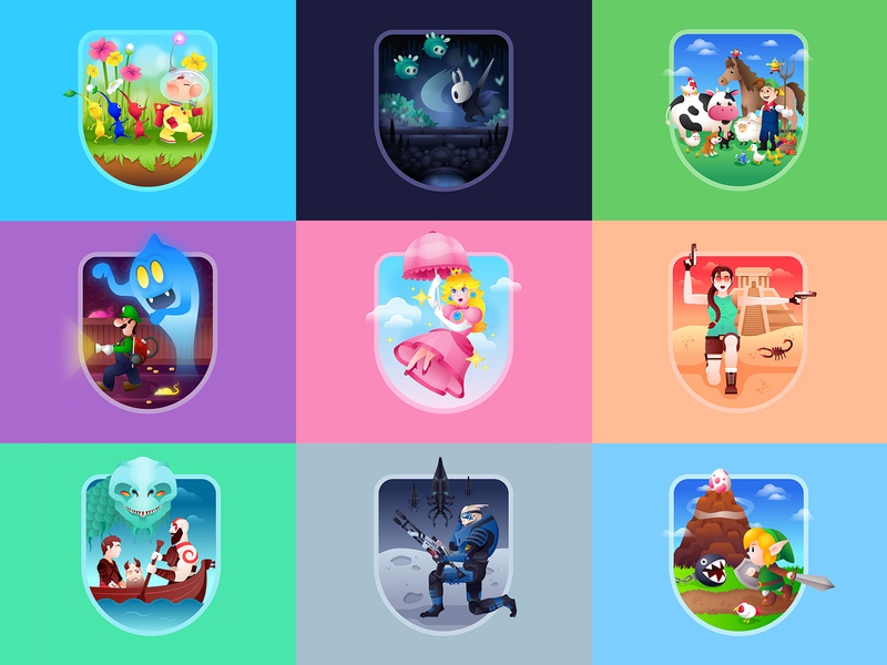 Video Game Badges god of war farm harvest moon mass effect garrus mario luigi tomb raider hollow knight pikmin princess peach princess link zelda nintendo video game vector character badge illustration