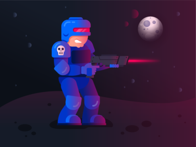 Space Marine moon gun sci fi marine laser space vector gradient video game character illustration