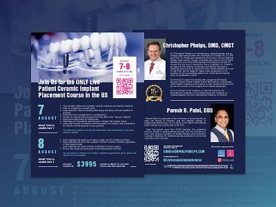 Live Patient Ceramic Implant Placement Course Flyer clean flyer design design illustration flyer dental care dental practice