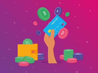 CoinSmart Crypto Illustration creditcard vector ui illustration cryptocurrency crypto concept design flat clean