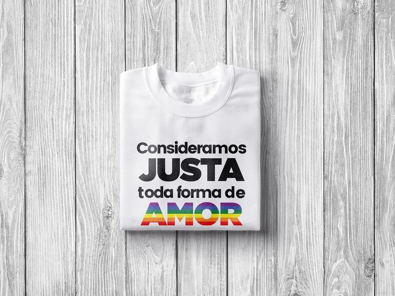 T-shirt Consideramos Justa Toda Forma de AMOR 🏳️‍🌈 colorful simple concept design flat clean tshirtdesign loveislove lgbtqia pridemonth