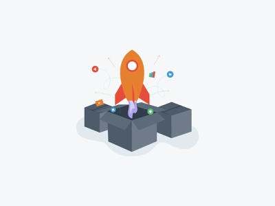 Social Media Rocket Illustration concept colorful flat illustration