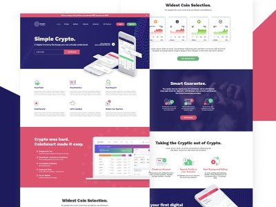 CoinSmart Website Redesign Project design clean colorful concept redesign webdesign cryptocurrency coin
