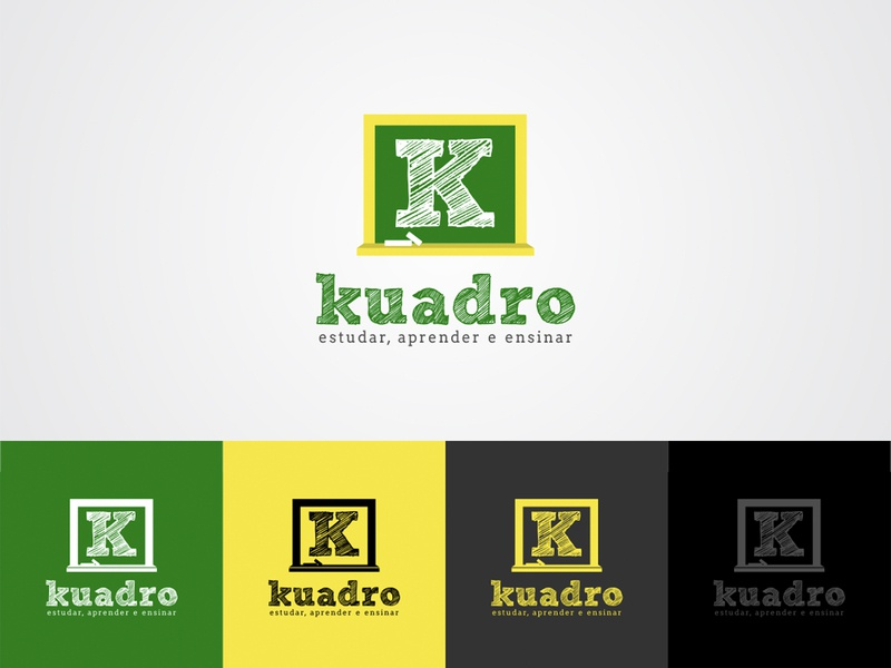 Kuadro Logo Design Contest Won on 99Designs branding website simple flat concept learning teach school logo platform online school